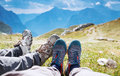 Travel trekking leisure holiday concept. Mangart, Julian Alps, National Park, Slovenia, Europe. Royalty Free Stock Photo