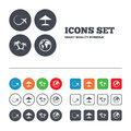 Travel trip icon. Airplane, world globe symbols Royalty Free Stock Photo