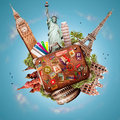 Travel and trip tourist background with a suitcase Royalty Free Stock Images