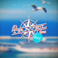 Travel type design with compass rose Royalty Free Stock Photo
