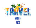Travel with us - banner, vector template illustration