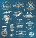 Travel and vacation emblems and symbols set of Royalty Free Stock Images