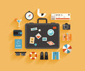 Travel and vacation flat design concept style modern vector illustration icons set of planning a summer travelling on holiday Stock Image