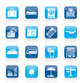 Travel and vacation icons Royalty Free Stock Images
