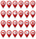 Travel and vacation icons on map pointers set of red Royalty Free Stock Photography