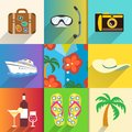 Travel and vacation icons set aloha shirt with sun hat camera beach shoes vector illustration Royalty Free Stock Image