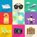Travel and vacation icons set aloha shirt with sunglasses yacht beach chair vector illustration Royalty Free Stock Images