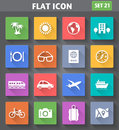 Travel and vacation icons set in flat style vector application with long shadows Royalty Free Stock Photo