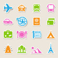 Travel and vacation icons set illustration eps Royalty Free Stock Photography