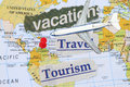Travel and vacation with push pin in continental usa map Stock Photography
