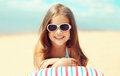 Travel, vacation - sunny portrait of smiling child resting Royalty Free Stock Photo