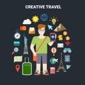 Travel vacation tourism icon smartphone app landmarks vector Royalty Free Stock Photo