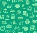 Travel, vacation, tourism, vacation, seamless pattern, green, color, vector.