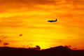 Travel On Vacations. Flying Aircraft During Sunset. Tourism. Tri Royalty Free Stock Photo