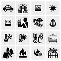 Travel vector icons set on gray Royalty Free Stock Photo