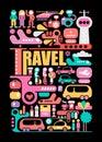 Travel vector illustration on a black