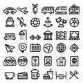 Travel vector line icons set, transport, holidays , entertainment minimalist design - big pack Royalty Free Stock Photo