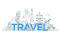 Travel - vector line travel illustration