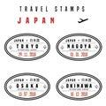 Japan passport stamps Royalty Free Stock Photo