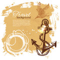 Travel vintage background sea nautical design hand drawn illustration Royalty Free Stock Images