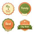 Travel vintage labels logo template collection tourism stickers retro style beach family tour city hotel badge icons vector Stock Photography
