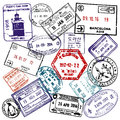 Travel and visa passport stamps Royalty Free Stock Photo