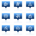 Travel web icons set 1, blue speech bubbles series Royalty Free Stock Photo