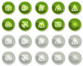 Travel web icons set 1, green circle buttons Stock Images