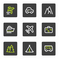 Travel web icons set 1, grey square buttons series Stock Photo