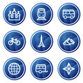 Travel web icons set 2, blue circle buttons series Royalty Free Stock Photos