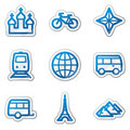 Travel web icons set 2, blue contour sticker Royalty Free Stock Photo