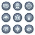 Travel web icons set 2, mineral circle buttons Stock Images