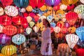 Travel woman choosing lanterns in Hoi An, Vietnam Royalty Free Stock Photo