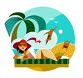 Travel woman vector illustration geometric composition Royalty Free Stock Photo