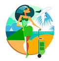 Travel woman vector illustration geometric composition Stock Photography