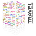 Travel word cloud illustration tag cloud concept collage Royalty Free Stock Photography
