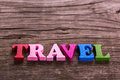 stock image of  Travel word made of wooden letters