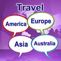 Travel words represents journeys expedition and traveller showing explore tours Stock Photo