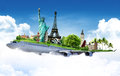 Travel the world background concept by airplane Royalty Free Stock Photo