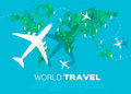 Travel world map background in polygonal styl style with top view airplane vector illustration design Stock Image