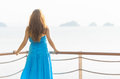 Travel young woman looking at the sea Royalty Free Stock Photography