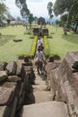 Traveled in the temple sukuh karanganyar residents central java indonesia they take advantage of christmas holiday for a trip Royalty Free Stock Photography