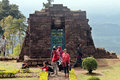 Traveled in the temple sukuh karanganyar residents central java indonesia they take advantage of christmas holiday for a trip Stock Image