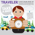 Traveler holding a camera illustration vector eps Royalty Free Stock Image