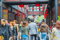 Traveler in jinli chengdu china april people strolling chengdu on april china s retail sales of consumer goods grew november year Royalty Free Stock Image