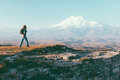 Traveler looking to Elbrus mountain Royalty Free Stock Photo