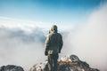 Traveler Man on mountain summit alone Royalty Free Stock Photo