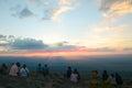 Traveler seeing sunset phu hin rong kla national park phitsanulok thailand Royalty Free Stock Photos