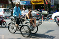 Traveler visit sai gon by pedicab sai gon viet nam march take a citytour to crowded view of Stock Photography