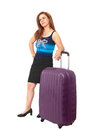 Traveler waiting pretty woman with suitcase stuck in travel or flight delay Stock Image